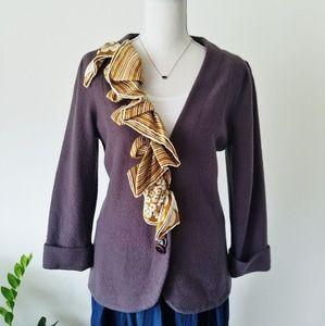 HWR Anthro Monogram Scarf Trick Sweater Wool Silk